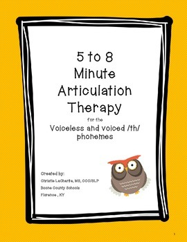 Speech Therapy: 5 - 8 minute Therapy for the Voiceless & V