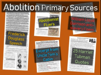 5 Abolition Primary Sources w guiding Qs (Tubman-Douglass-