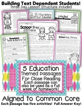 5 Back to School Themed Passages for Close Reading, Homewo