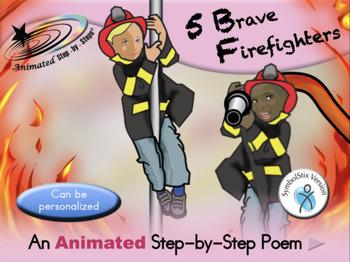 5 Brave Firefighters - Animated Step-by-Step Poem - SymbolStix
