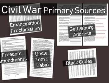 5 Civil War Primary Source Documents with guiding question