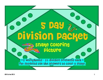 5 Day Math Division Packet - Snake Coloring Picture