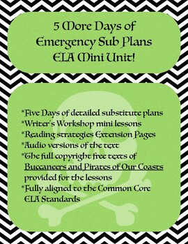 5 More Days of Emergency Sub Plans ELA Mini Unit!