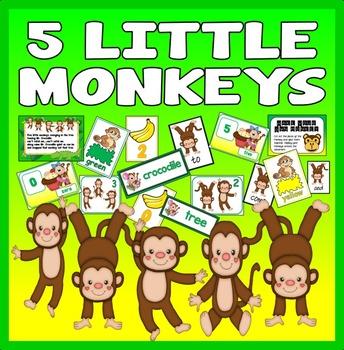 5 FIVE LITTLE MONKEYS NUMBER RHYME TEACHING RESOURCE MATHS