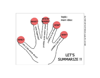 5 Finger Summary FREEBIE