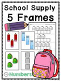 5 Frames: School Supplies Theme