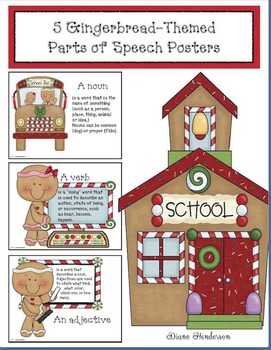 5 Gingerbread-Themed Parts of Speech Posters