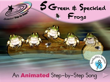 5 Green and Speckled Frogs - Animated Step-by-Step Song -