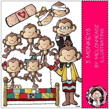 Melonheadz: 5 Little Monkeys clip art - COMBO PACK
