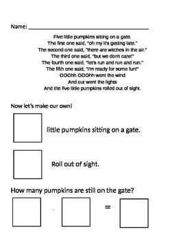 5 Little Pumpkins Subtraction Center