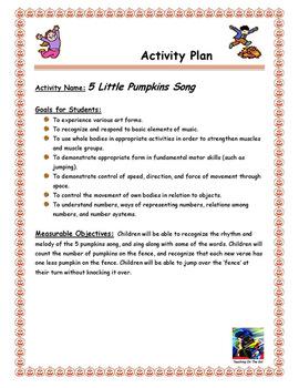 5 Little Pumpkins Song Activity