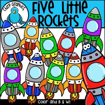 Five Little Rockets Outer Space Clip Art Set - Chirp Graphics