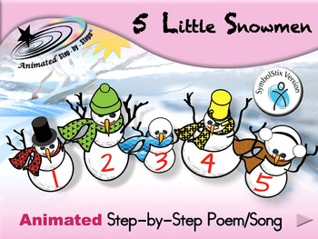 5 Little Snowmen - Animated Step-by-Step Poem/Song - SymbolStix