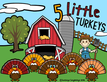 5 Little Turkeys: Story Book and Activities