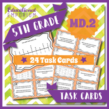 5.MD.2 Task Cards - Line Plots (Fifth-Grade Common Core Math)
