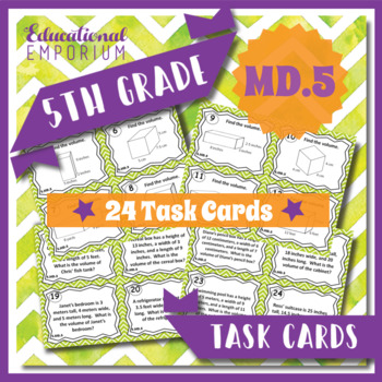 5.MD.5 Task Cards: Volume Task Cards 5.MD.5: With Volume W