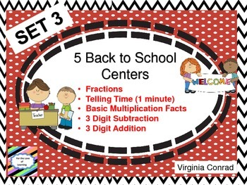 Back to School Math Centers---Set 3