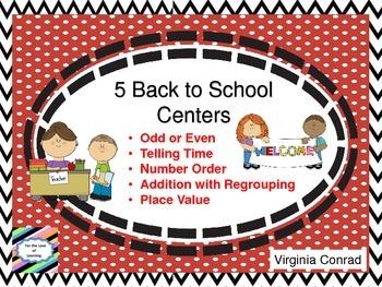 Back to School Math Centers---Set 1