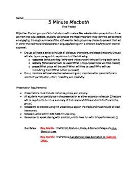 5 Minute Macbeth Video Project