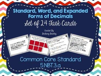 5.NBT.3 Forms of Decimals Task Cards
