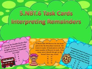 5.NBT.6 Interpreting Remainders Task Cards