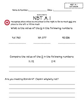 5.NBT.A.1 Exit Tickets (1,2, and 3)