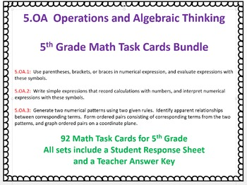 5.OA Math Task Cards Bundle