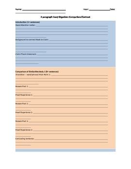 5 Paragraph Essay Organizer Comparison and Contrast