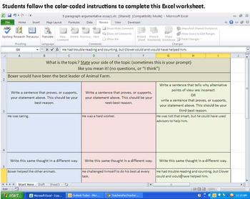 5 Paragraph Essay Organizer - on Excel so it almost writes