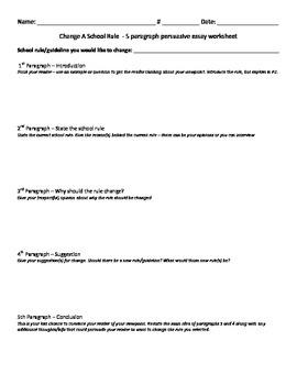 5 Paragraph Persuasive Essay worksheet