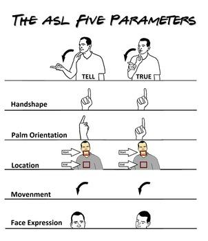 """5 Parameters of ASL """"TRUE"""" v.s. """"TELL"""""""