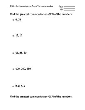 5 Question Mastery Quizzes Presents: Greatest Common Factor (GCF)