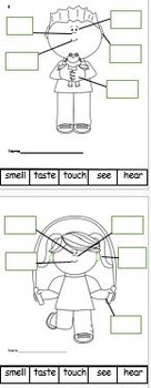 5 Senses labeling cut and paste worksheet
