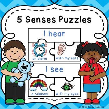 Kindergarten 5 Senses Sorting Puzzles for a Five Senses Ce