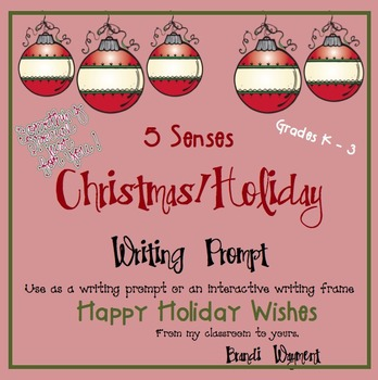 5 Senses Christmas/Holiday Writing Prompt