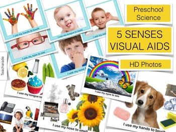 5 Senses: Preschool Science Visual Aids / Flashcards /Printables
