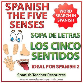 5 Senses in Spanish Word Search - Los Cinco Sentidos