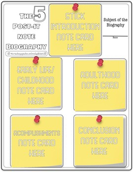 5 Sticky Note Biography Sheet (Free for limited time for f