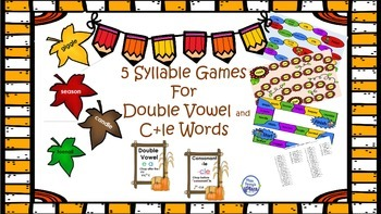 5 Syllable Games for C+le and Double Vowel Words