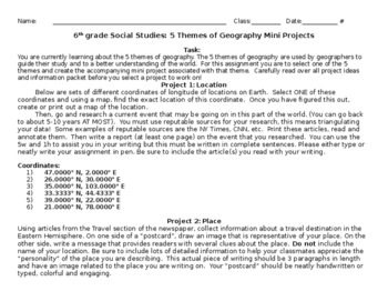 5 Themes of Geography Mini Projects (Rubrics are a separate item)