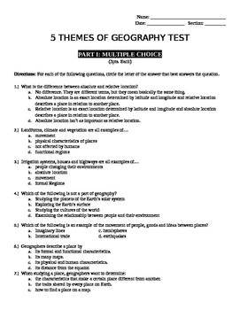 5 Themes of Geography Test