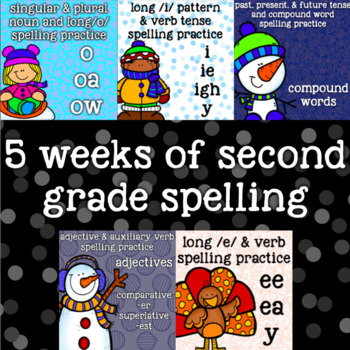 5 Weeks - 2nd Grade Spelling -Compound Words, Adjectives,