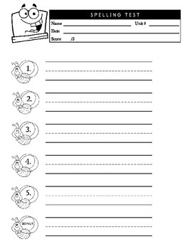 5 Word Spelling Test Sheet for PreK-1st with Guided Handwr