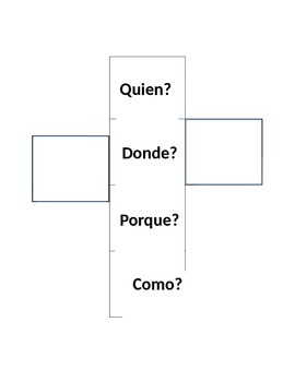 5 W's Question Cube- Spanish