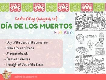 5 coloring pages of Día de los Muertos (Day of the Dead)