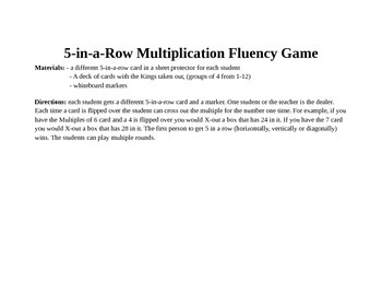 5-in-a-Row Multiplication Game