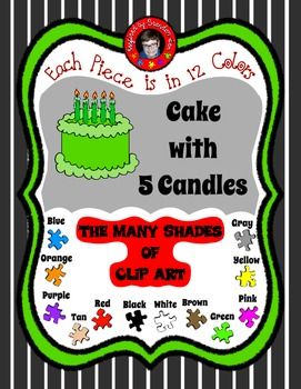 5 lit Candles on 12 colors of Cake ClipArt - Free & commer