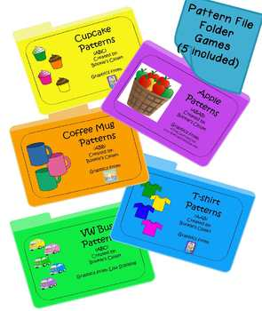 5 pack of pattern file folder games