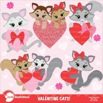 Valentine cliparts, Valentine kitten clipart AMB-334