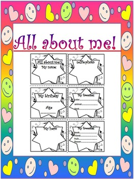 All About Me - labels - Writing paper - Frames - First Wee